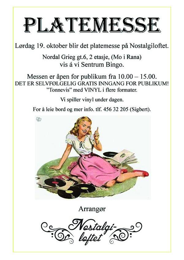 Platemesse i Mo i Rana, lørdag 19. oktober